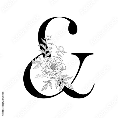 Photo Decorative floral ampersand on the white background.