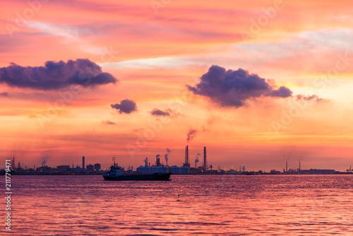 Foto op Canvas Koraal 関門海峡の夕暮れ