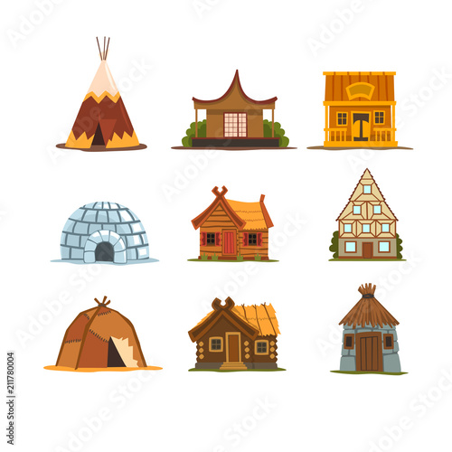 Traditional buildings of different countries set, houses from around the world v Fotobehang