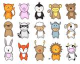 Fototapeta Fototapety na ścianę do pokoju dziecięcego - toy animals cartoon set