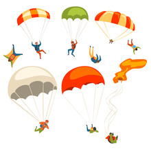 Skydivers Flying With Parachut...