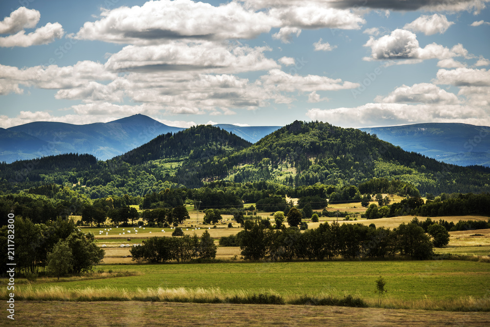 Fototapety, obrazy: Mountain landscape, Karkonosze Mountains with clouds in the background.