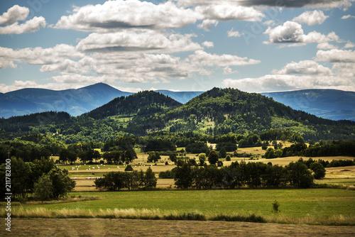 Fototapeta Mountain landscape, Karkonosze Mountains with clouds in the background. obraz