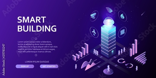 Fotografía  3D smart building Infographics Isometric concept Automation control system of in