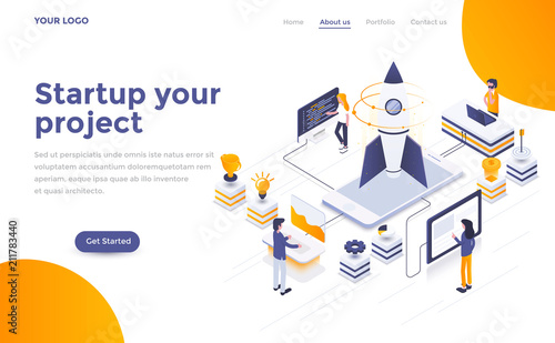 Photo  Flat color Modern Isometric Concept Illustration - Startup your project