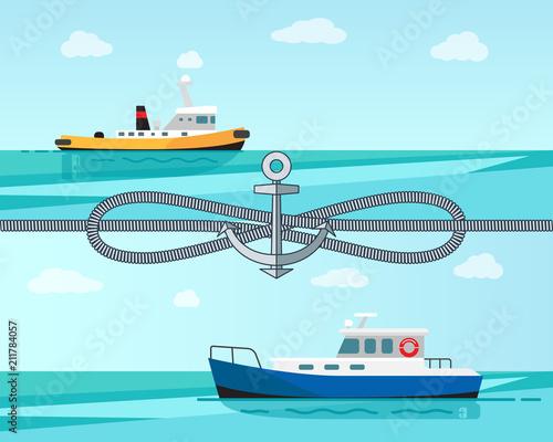 Fotografiet  Sea Transport Color Banner Vector Illustration