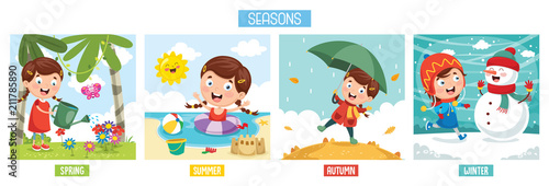 Tablou Canvas Vector Illustration Of Seasons