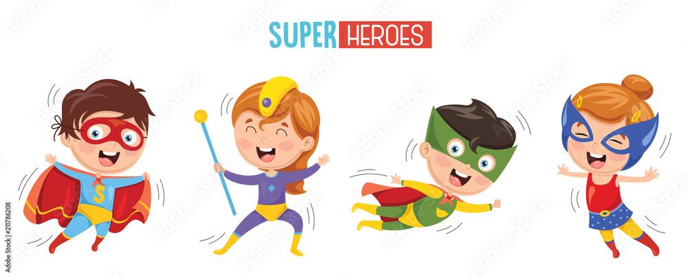 Fototapeta Vector Illustration Of Superheroes