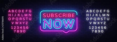 Fotografía  Subscribe Now neon signs vector