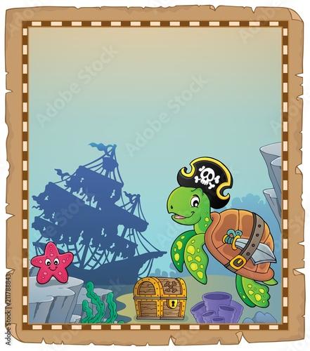 In de dag Voor kinderen Pirate turtle theme parchment 1