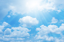 Beautiful Blue Sky With Sun For Background