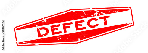 Obraz na plátne Grunge red defect word hexagon rubber seal stamp on white background