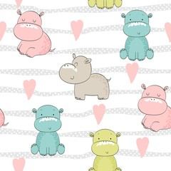 Tapeta Vector hand drawn seamless pattern with cute hippos