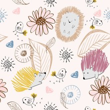 Vector Hand Drawn Seamless Pattern With Cute Hedgehogs