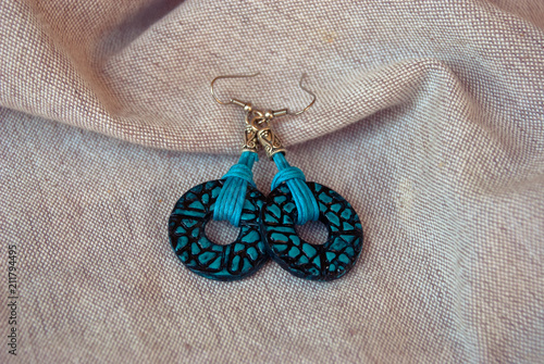 Fotografie, Obraz  Turquoise black earrings with rope