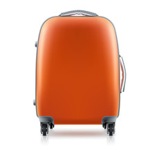 Orange Plastic Suitcase On White Background. Concept Travel