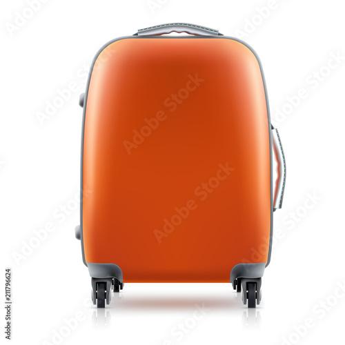 Canvas Print Orange plastic Suitcase on white background. Concept travel