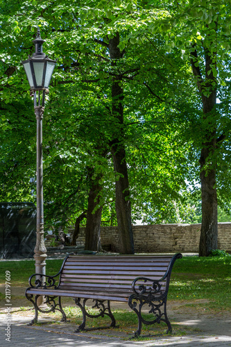 Awesome Bench And Lantern In Medieval Tallinn Buy This Stock Photo Machost Co Dining Chair Design Ideas Machostcouk