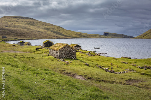 Fotobehang Europese Plekken fisherman houses in faroe