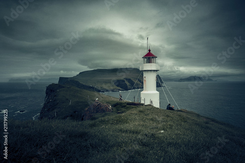 Staande foto Europa lighthouse in mykines faroe