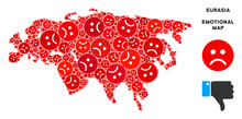 Emotional Eurasia Map Collage Of Sad Emojis In Red Colors. Negative Mood Vector Template Of Depression Regions. Eurasia Map Is Formed Of Red Upset Emotion Symbols. Abstract Area Scheme.