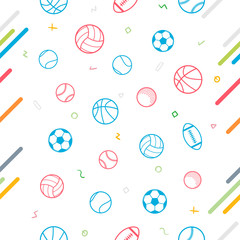 Tapeta Sport theme seamless pattern background; football; baseball; volleyball; basketball