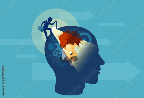 Photo Adult business man opening a human head with a child subconscious mind sitting i