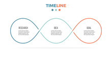 Business Infographics. Timeline With 3 Steps, Options, Loops. Vector Template.