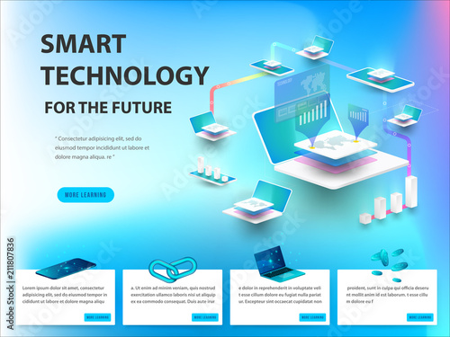 Fotografija  Concept of big data processing, energy station of future, data center, Cryptocurrency and blockchain isometric composition Smart object and smart technology design