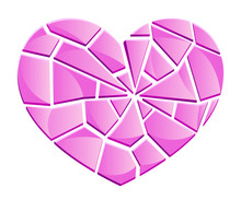 Broken Glass Pink Heart On A White Background