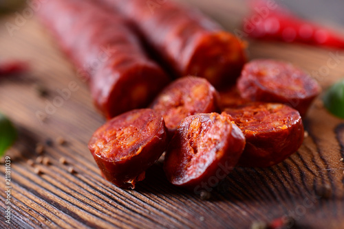 Traditional spanish sausage - chorizo