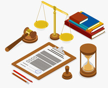 Workplace Of Judge Or Lawyer. Isometric Illustration.