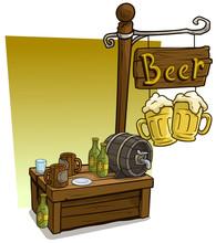 Cartoon Beer Vendor Booth Mark...
