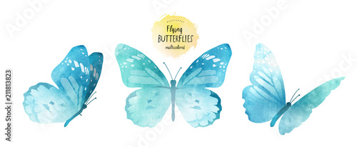 Obraz na plátně watercolor illustrations of cute blue butterflies, drawings by hand, isolated on