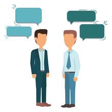 Two Businessmen Standing, Talk...