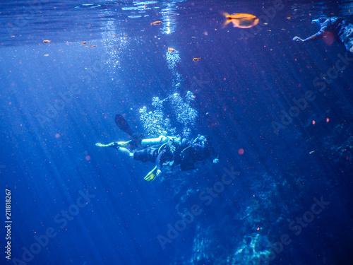 Fotografija  Practicing diving and snorkeling, mysterious lagoon, beautiful lagoon of transpa