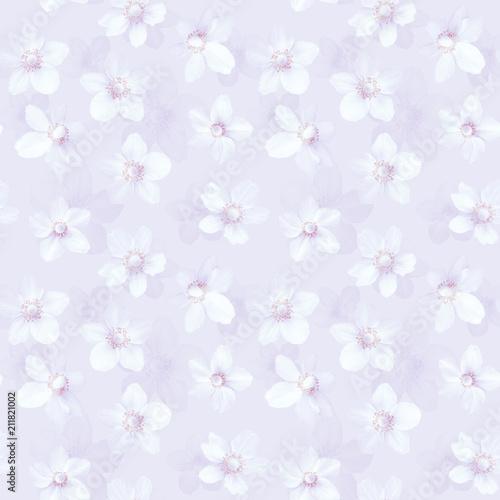 Stoffe zum Nähen Nahtlose abstrakte rosa Hintergrund mit Anemonen