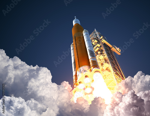 Photo  Space Launch System Takes Off. 3D Illustration.