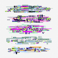 Glitch Effect Style Elements Set. Vector