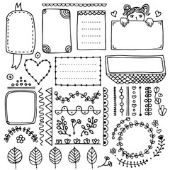 Set of cute hand drawn bullet journal's elements isolated on white background.  Collection of doodle frames, borders, floral elements.