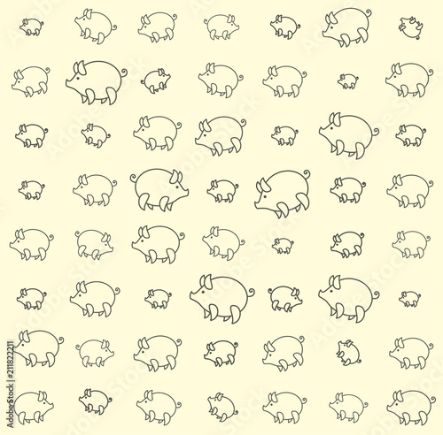 Fototapeta Piglets large and small funny against a pale yellow background. Seamless pattern with cartoon pig. obraz na płótnie