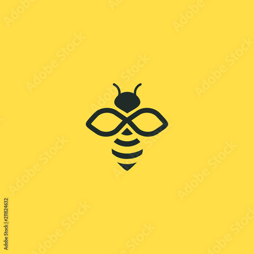 Bee logo vector outline minimalist graphic vector Tableau sur Toile
