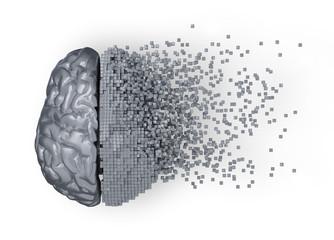 Dezintegracja metalowego mózgu mózgu. Ilustracja 3D.