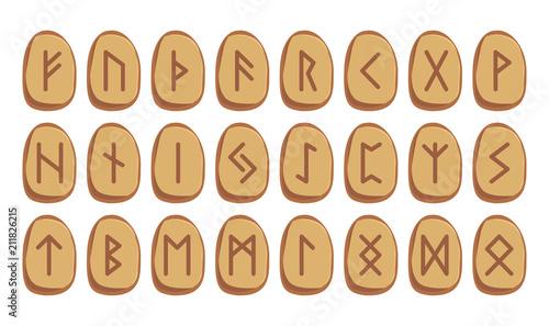 Old Norse Scandinavian runes set Canvas Print
