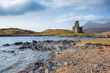 The Ruins Of Ardvreck Castle On The Shores Of Loch Assynt