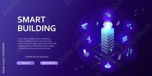 Fotografía  3D smart building Infographics Isometric concept Automation control system