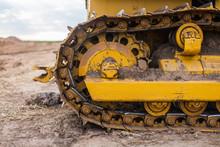 Yellow Tractor On Crawler Track
