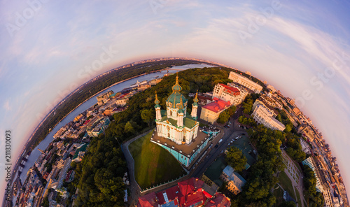 Foto op Plexiglas Kiev Full aerial view panorama 360 degrees of Kiev city, St. Andrew's Church, Andrew's descent and the historical part of the city in the equiangular spherical projection.