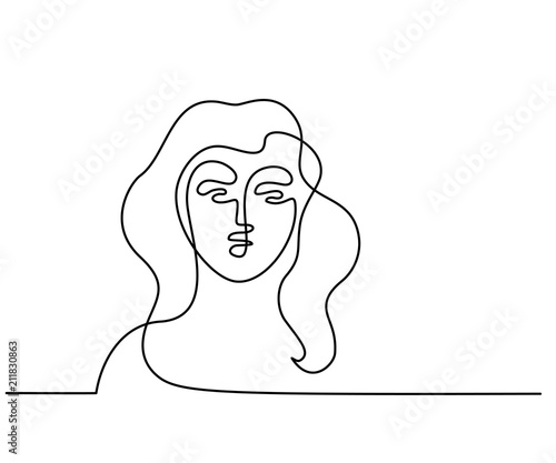 Continuous One Line Drawing Abstract Portrait Of A Woman