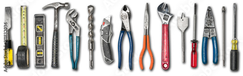 Various used tools on white background Canvas-taulu